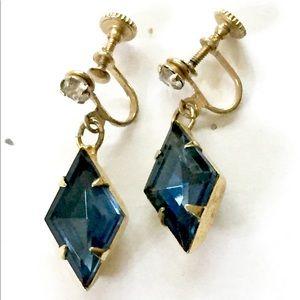 Sapphire Rhinestone Dangle Earrings Vintage